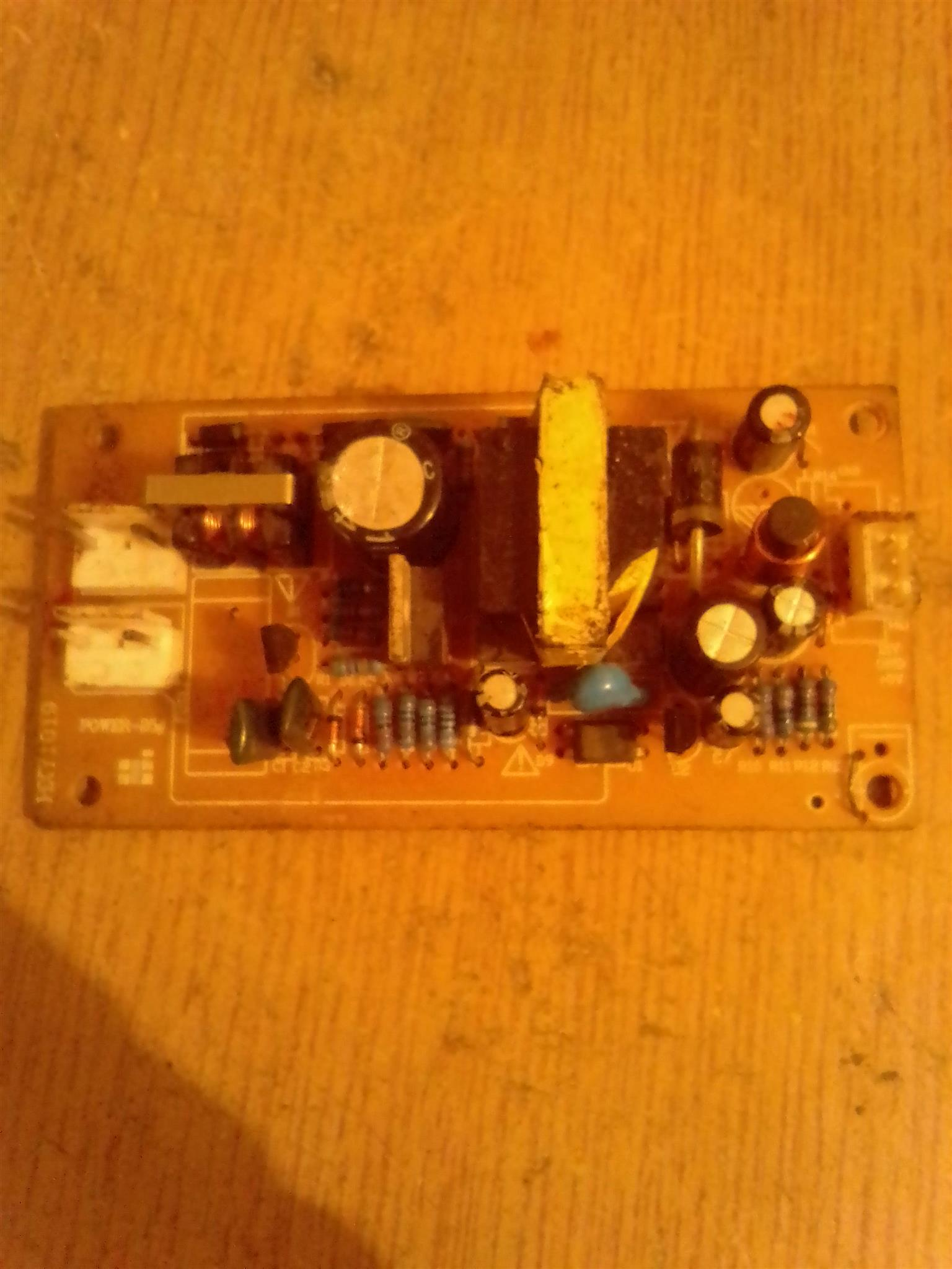 An HXY1019 DVD player power supply board.