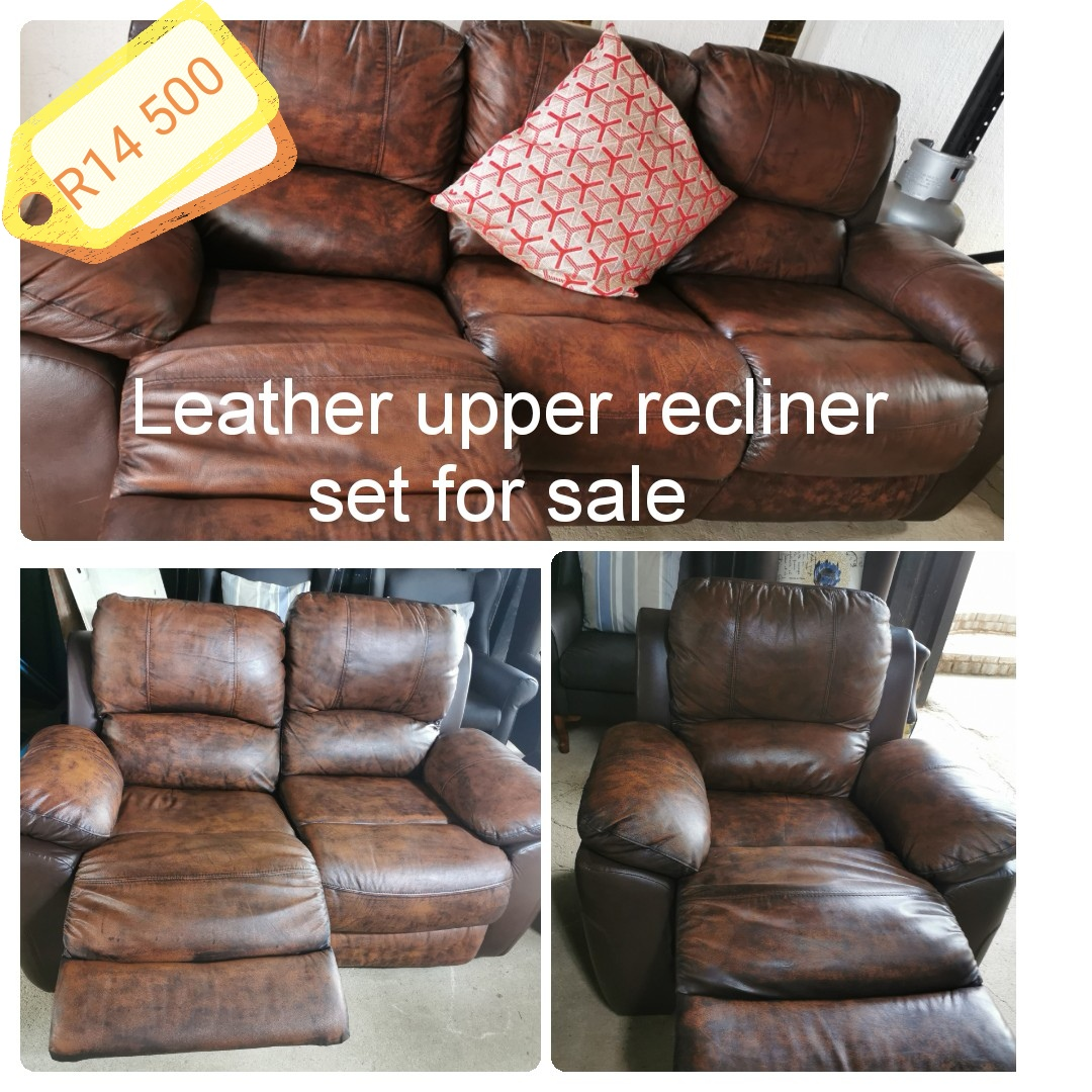 Beautiful Leather upper recliner set for sale