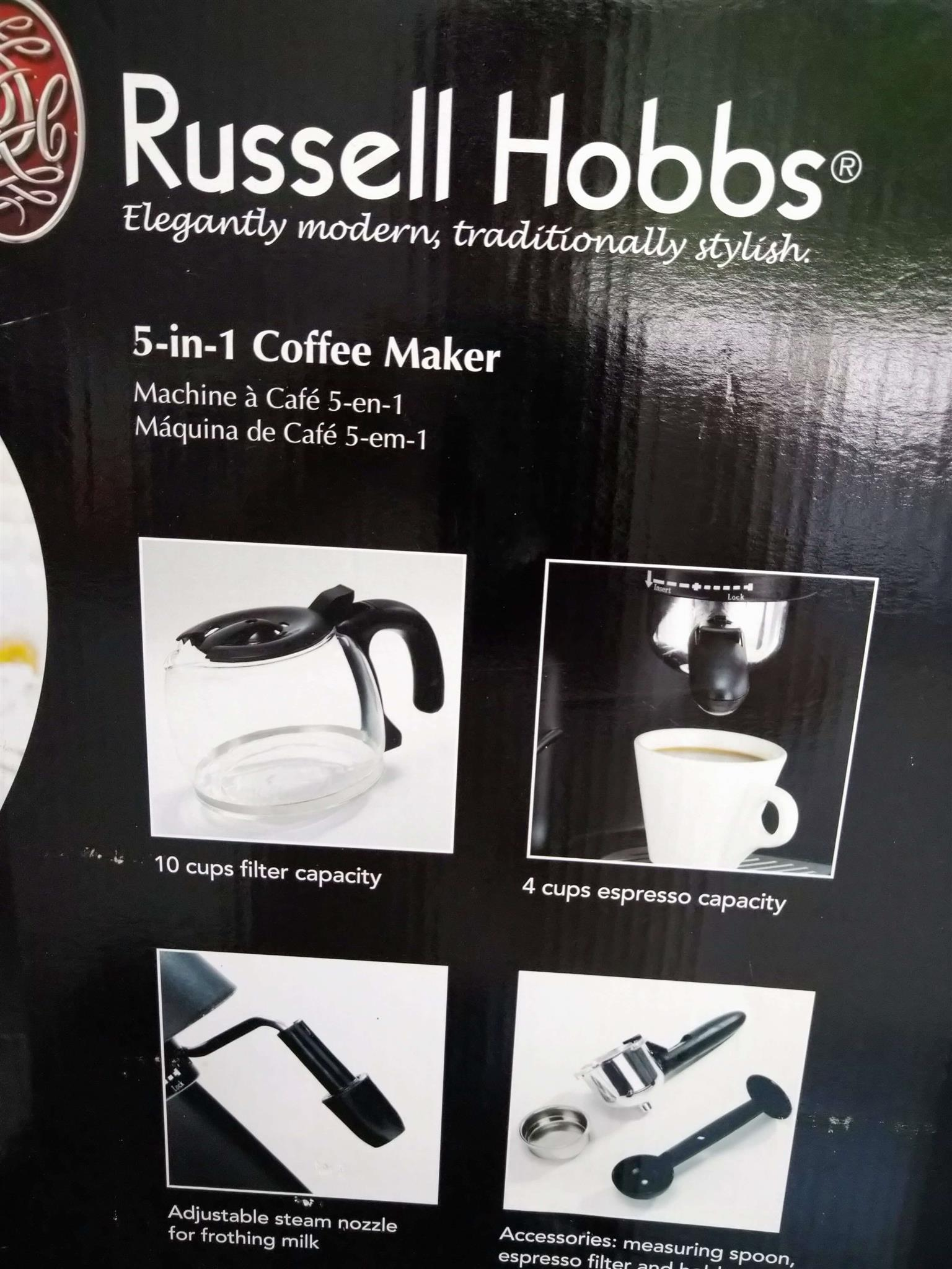 5-in-1 Russell Hobbs Coffee Machine - Wake up to the smell of coffee percolating with this multi-functional Coffee Dream Machine.