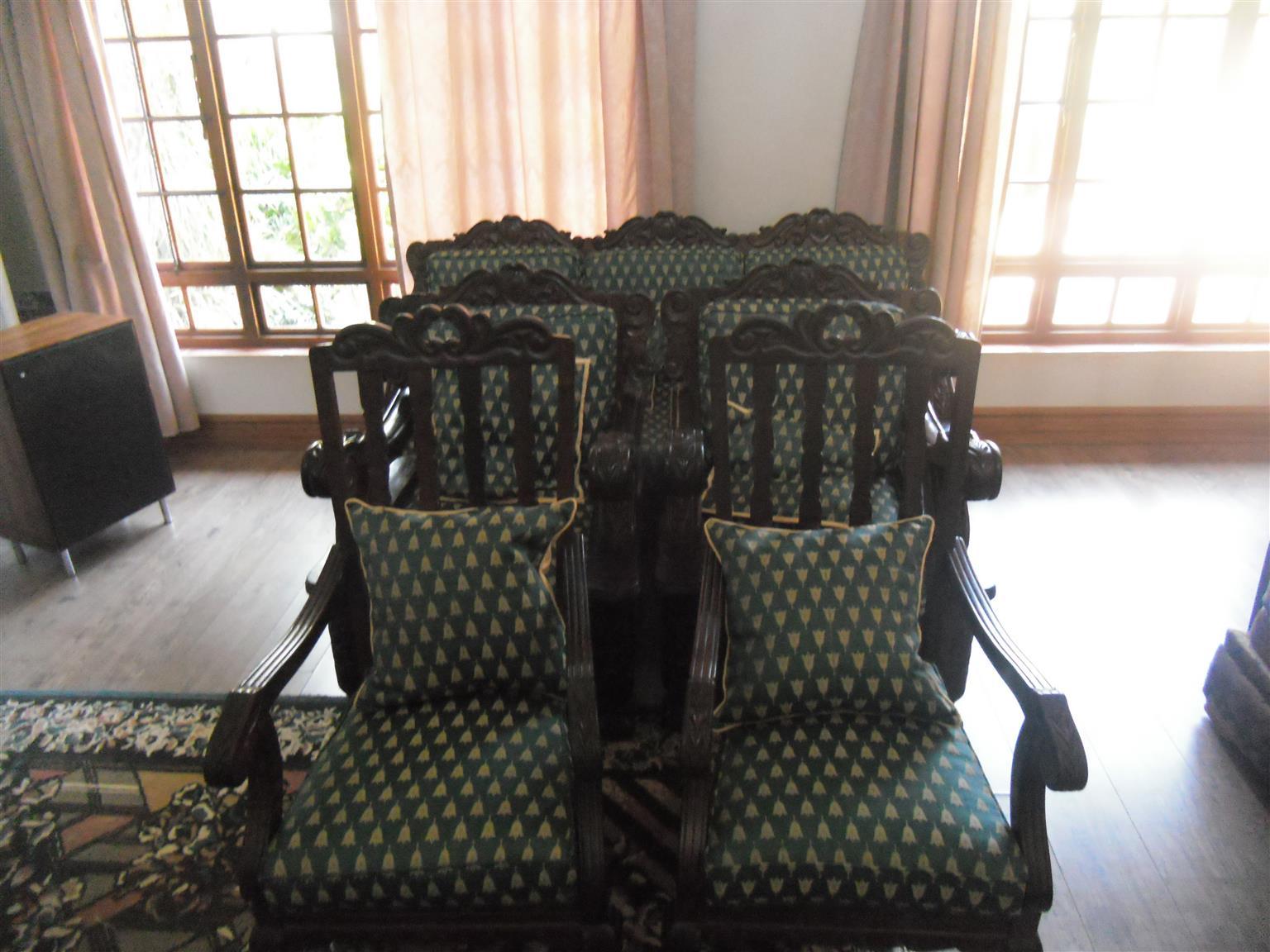 Antique handcrafted emboya living room set