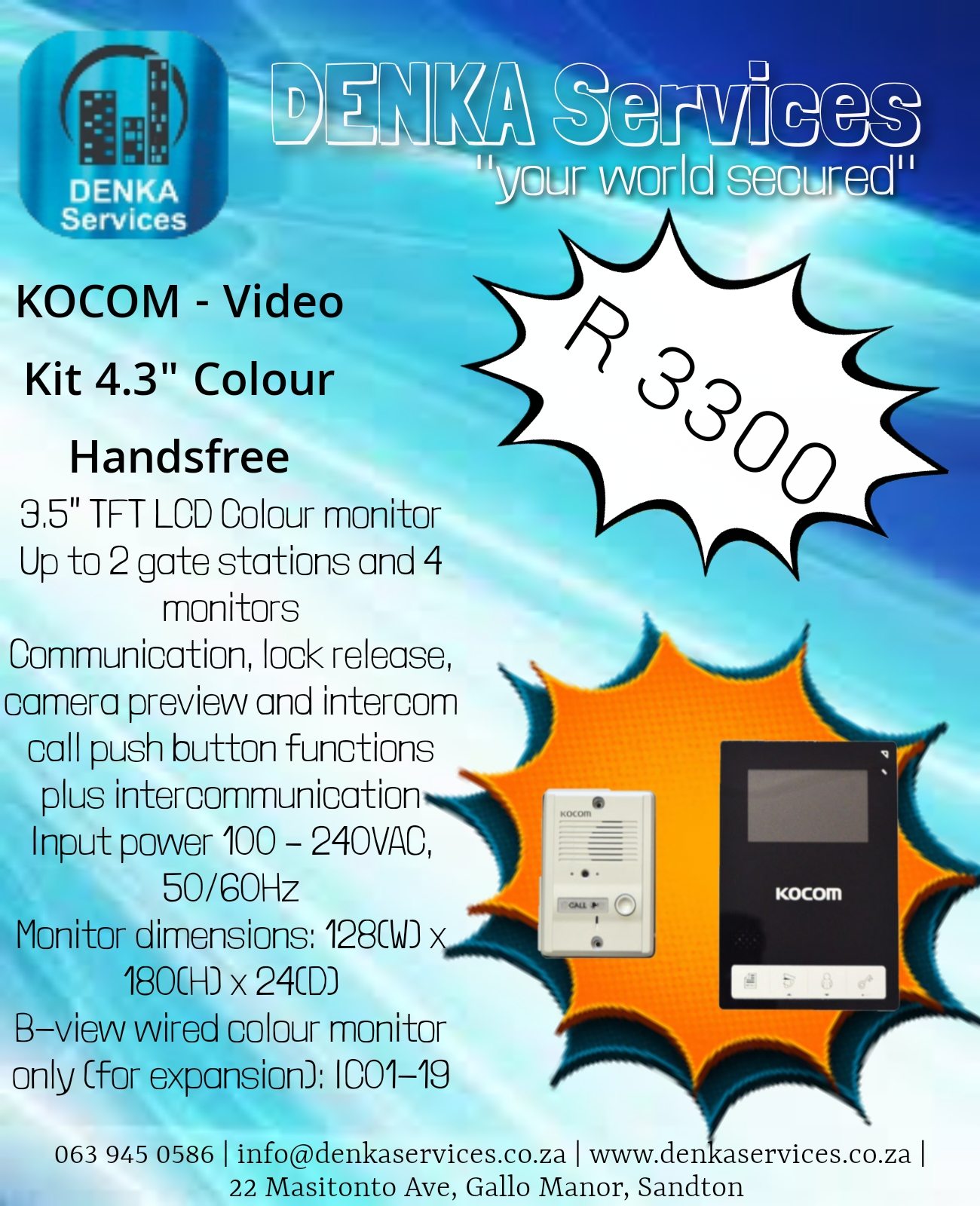 "Kocom - Video Kit 4.3"" Colour Handsfree"