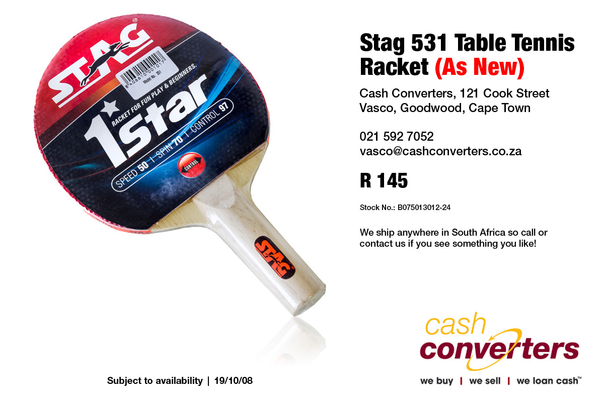 Stag 531 Table Tennis Racket (As New)