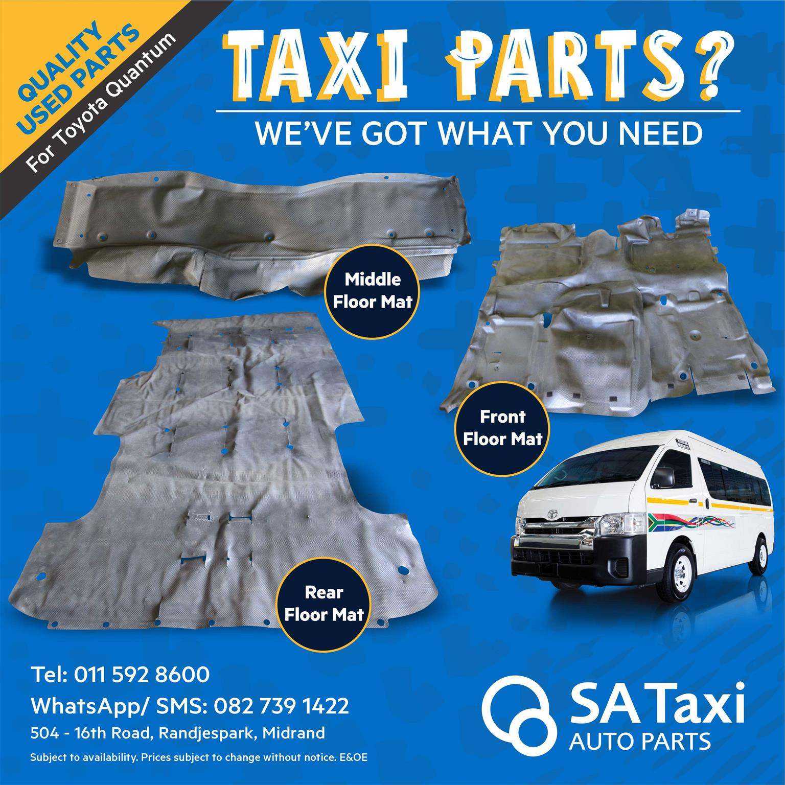 Taxi Floor Mats for Toyota Quantum - SA Taxi Auto Parts quality used spares