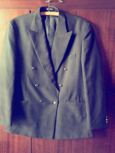 Mens double breasted lined black jacket
