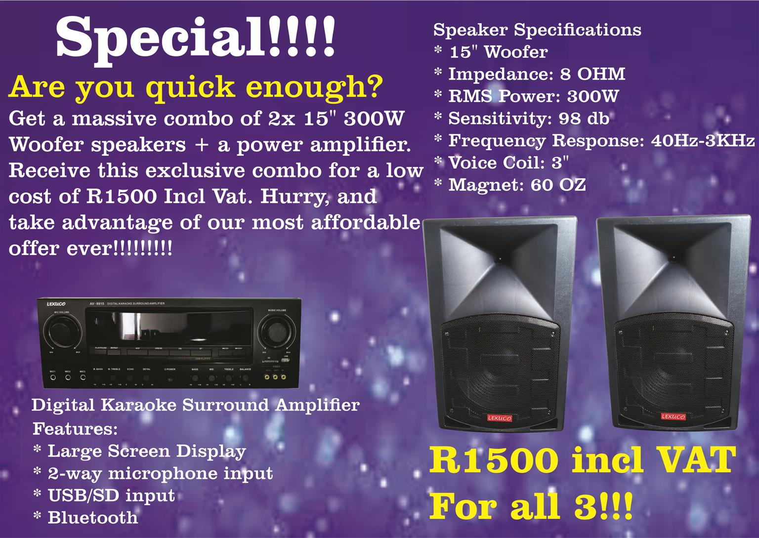 "Speaker Special! Get 2 15"" Woofers and an amplifier for only R1500 Incl VAT"