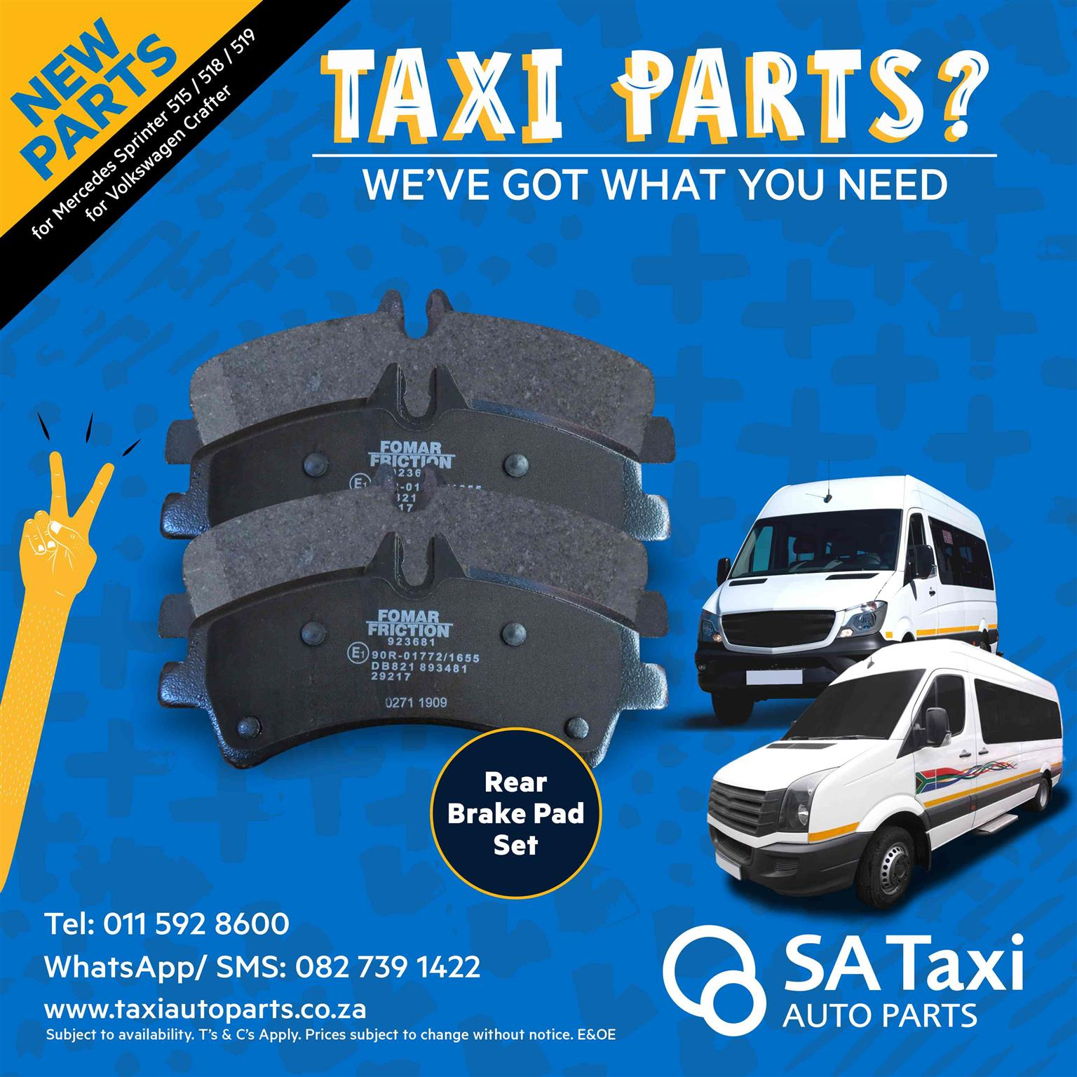 New Rear Brake Pad Set suitable for Mercedes Sprinter 515 / 518 / 519 & Volkswagen Crafter