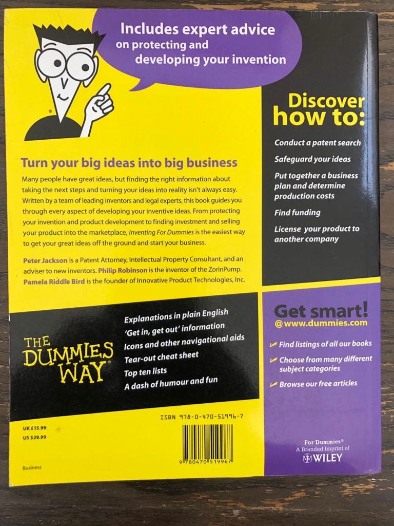 Book: Inventing For Dummies Paperback – by Pamela Riddle Bird