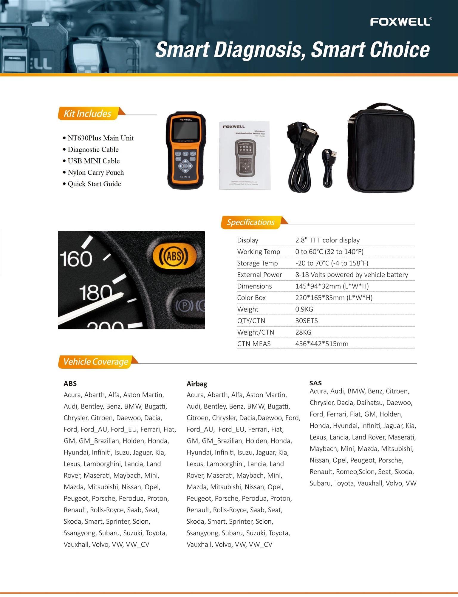 Foxwell NT630Plus ABS & Airbag Reset Tool With SAS Calibration