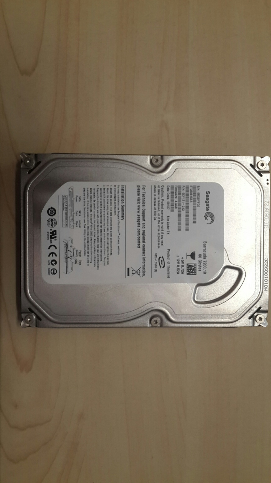 Seagate Barracuda 7200 SATA 80GB Hard Disk Drive - New
