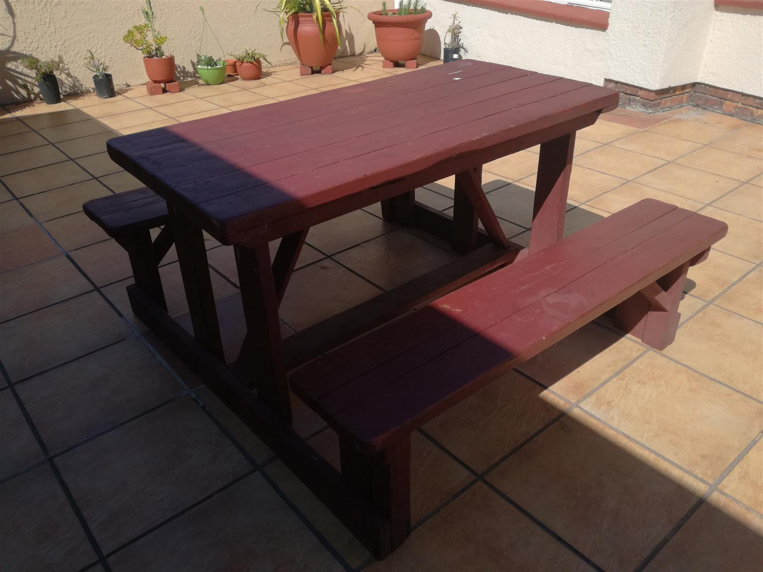 Used Wooden bench/seat unit 6 seater