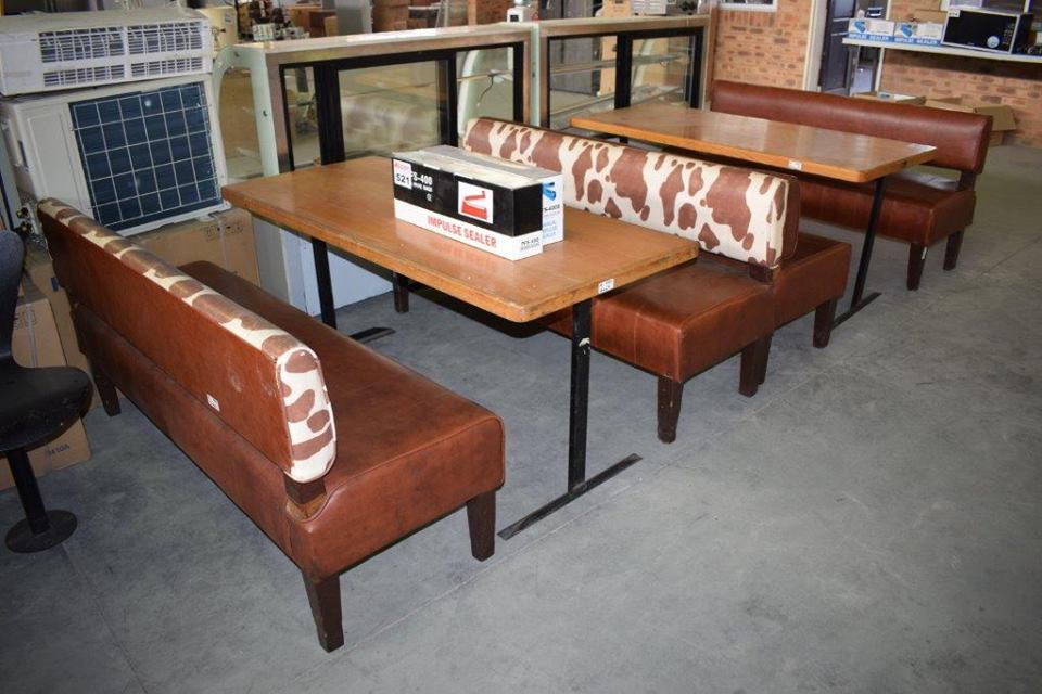 Cow printed dining table and seats