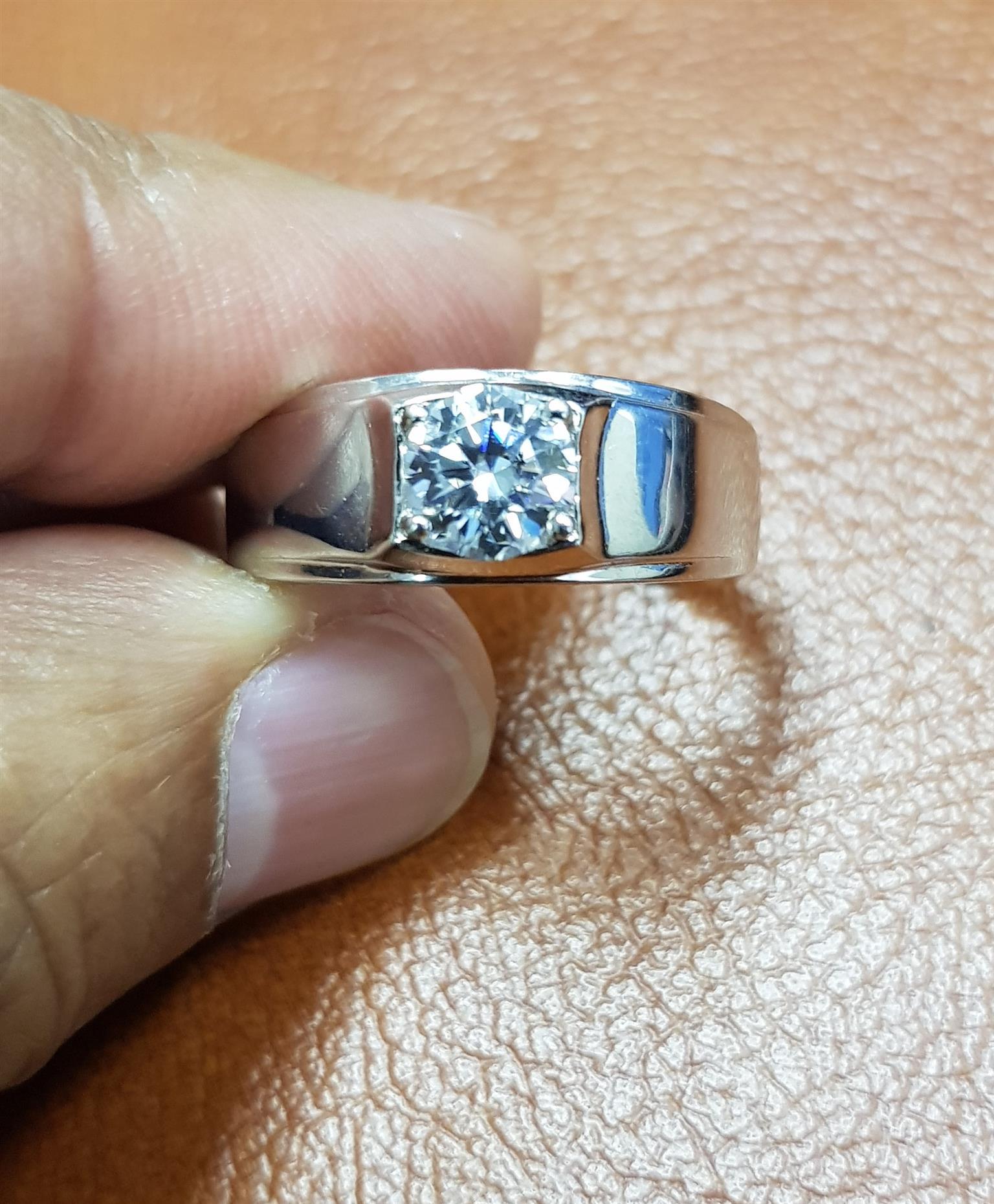 1ct Moissanite E/F Silver Mens ring