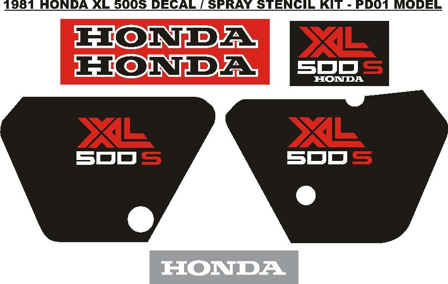 1981 XL 500S PD01 decals stickers vinyl cut graphics kits