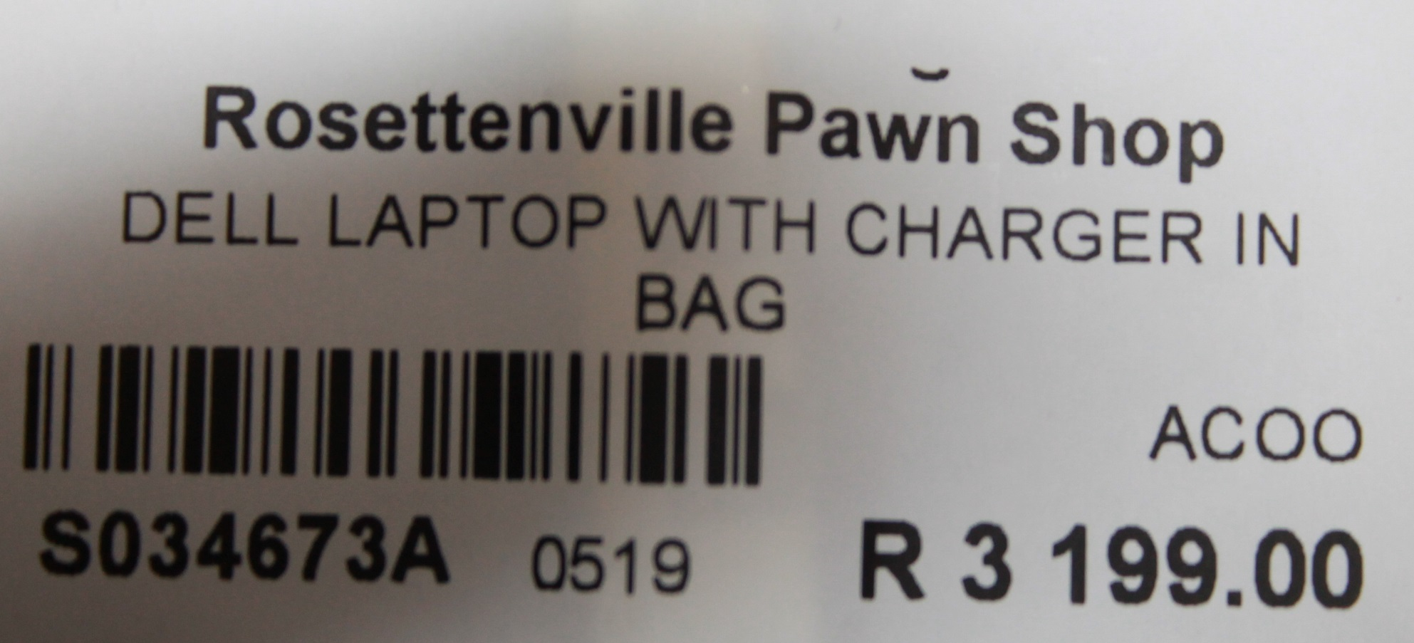 S034673A Dell laptop with charger in bag #Rosettenvillepawnshop
