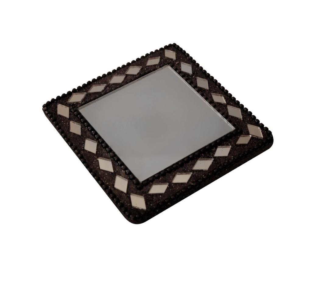 Square Mirror in Black Bling Beads