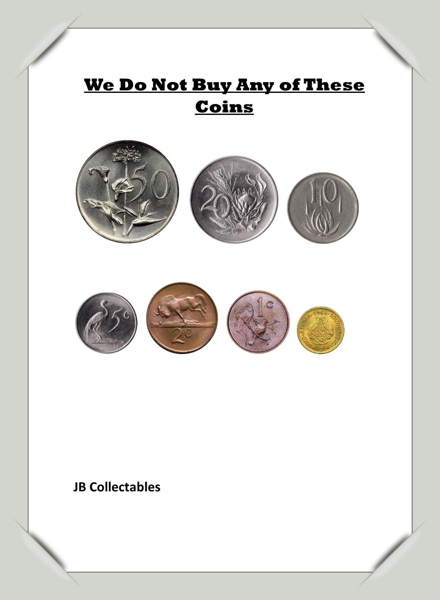 We collect and buy Old South-African Silver Coins. Cash!!!