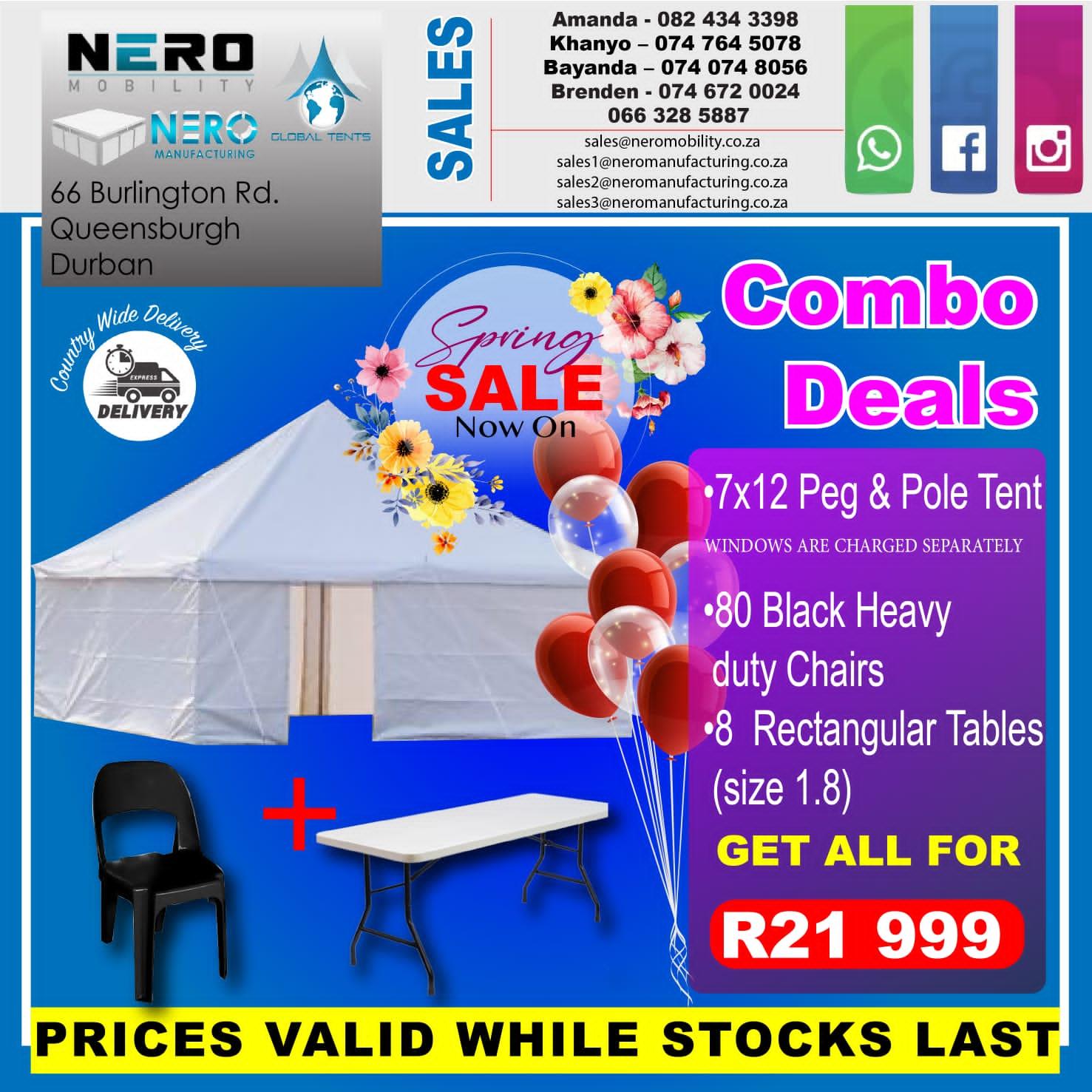 7x12 peg & pole tent combo deal