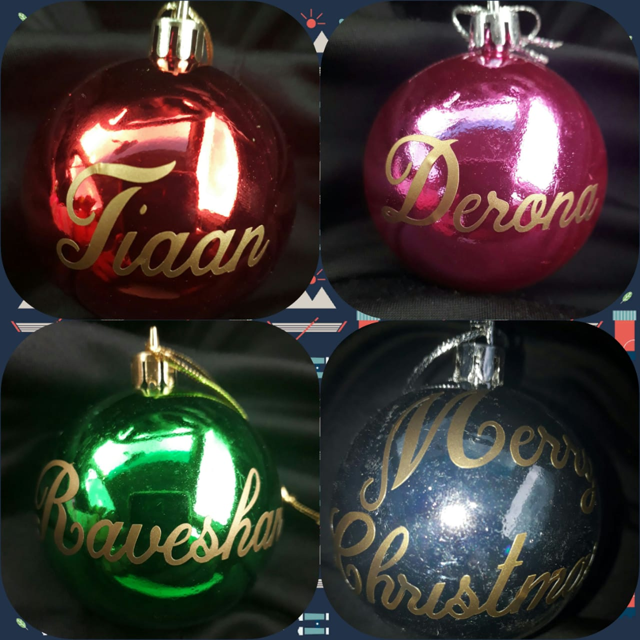 CHRISTMAS Bauble NAME STICKERS --- R30 gets you 4