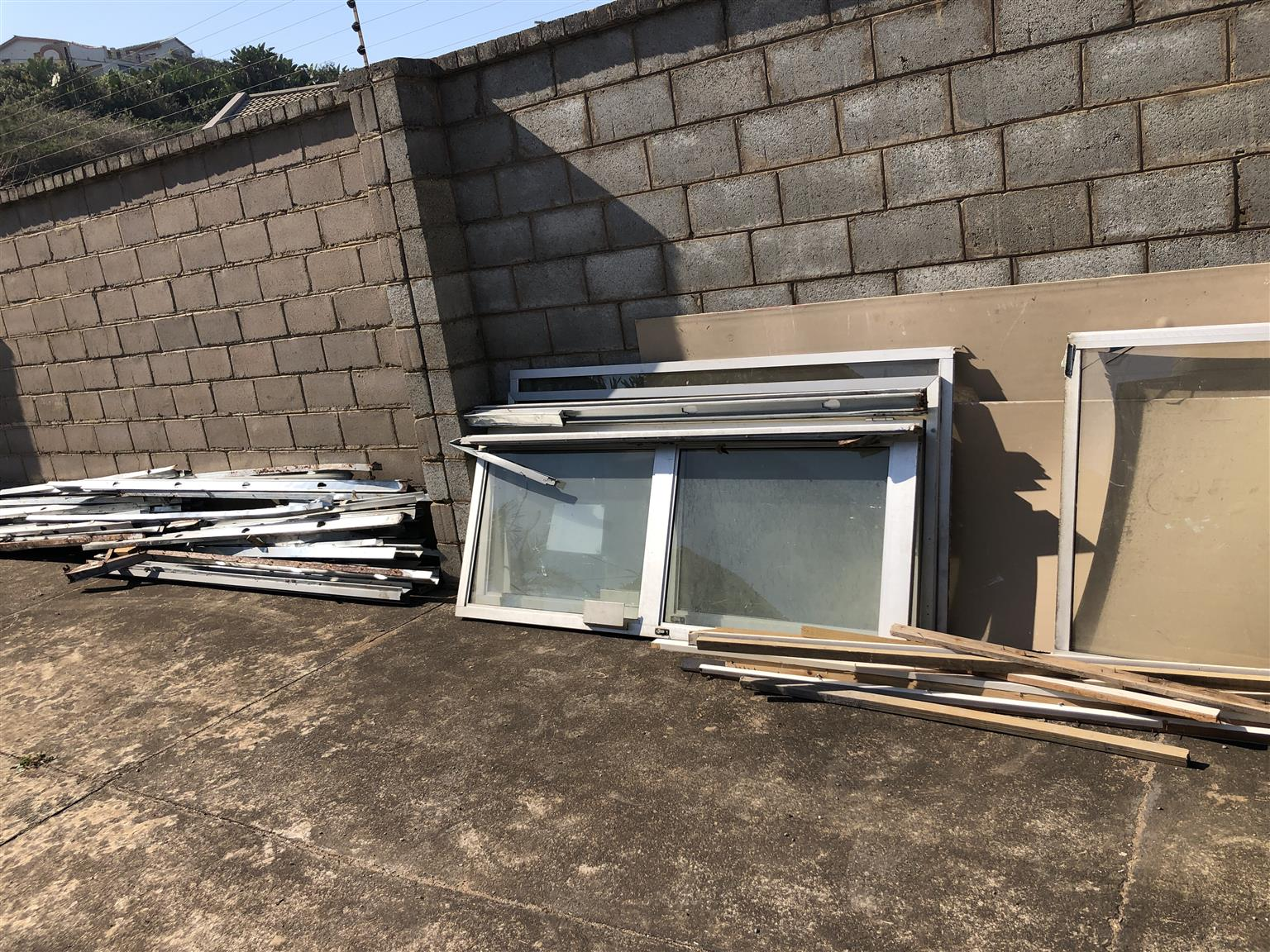 Used drywall struts aluminum door frames and window frames shop shelving toilets, baisins,urinals etc for sale