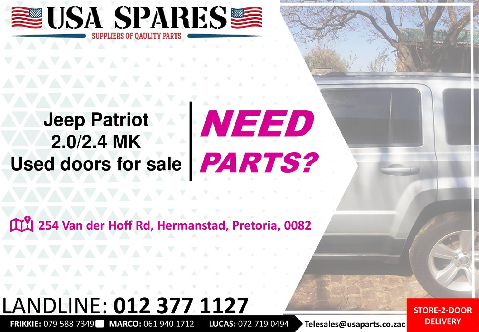 Jeep Patriot 2.0/2.4 MK 2007-17 used doors for sale