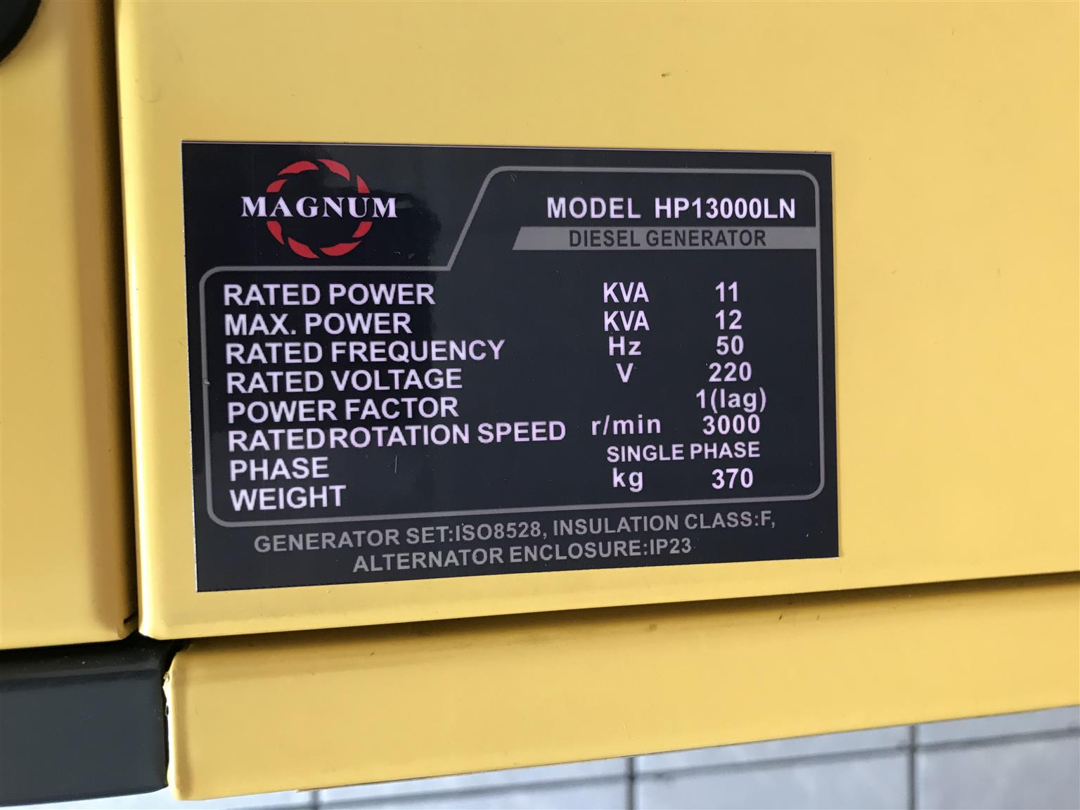 Magnum Diesel Single Phase Generator 12kva price incl. Vat