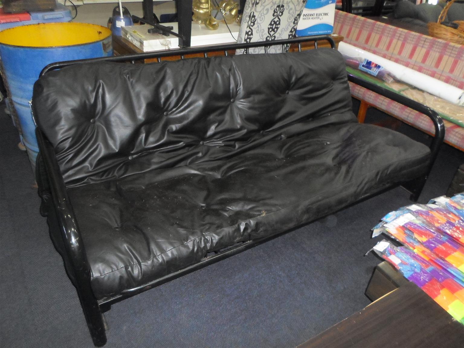 Steel Framed Leatherette Sleeper Couch