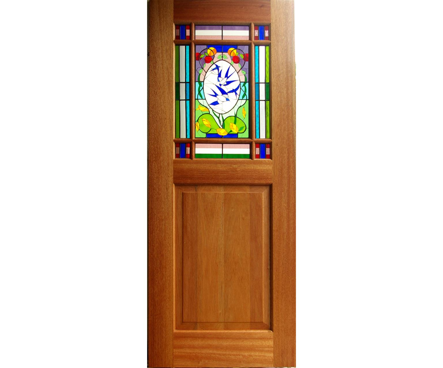 New Meranti door with stained glass panel; swallows theme