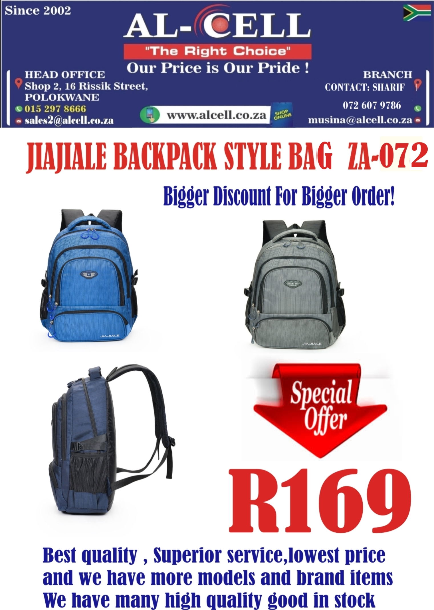 6b2ce0cd4f5 JIAJIALE STYLE BACKPACK BAG   Junk Mail