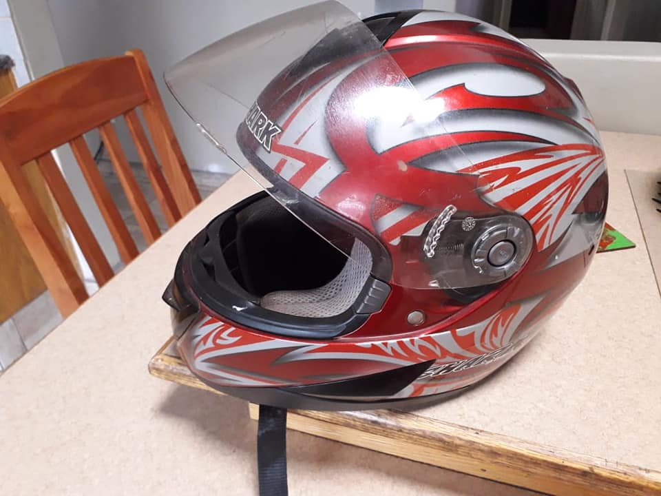 Red shark helmet in good condition