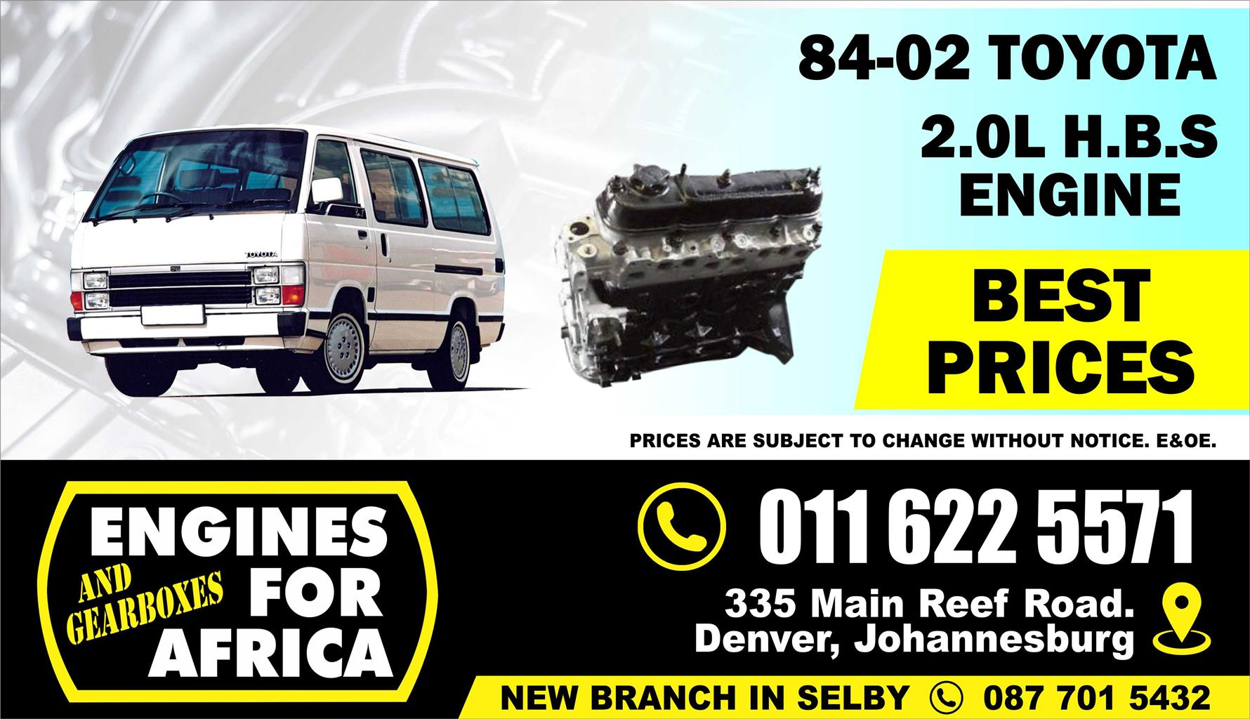 Used 3YP H B S 2 0L 84-02 Engine FOR SALE