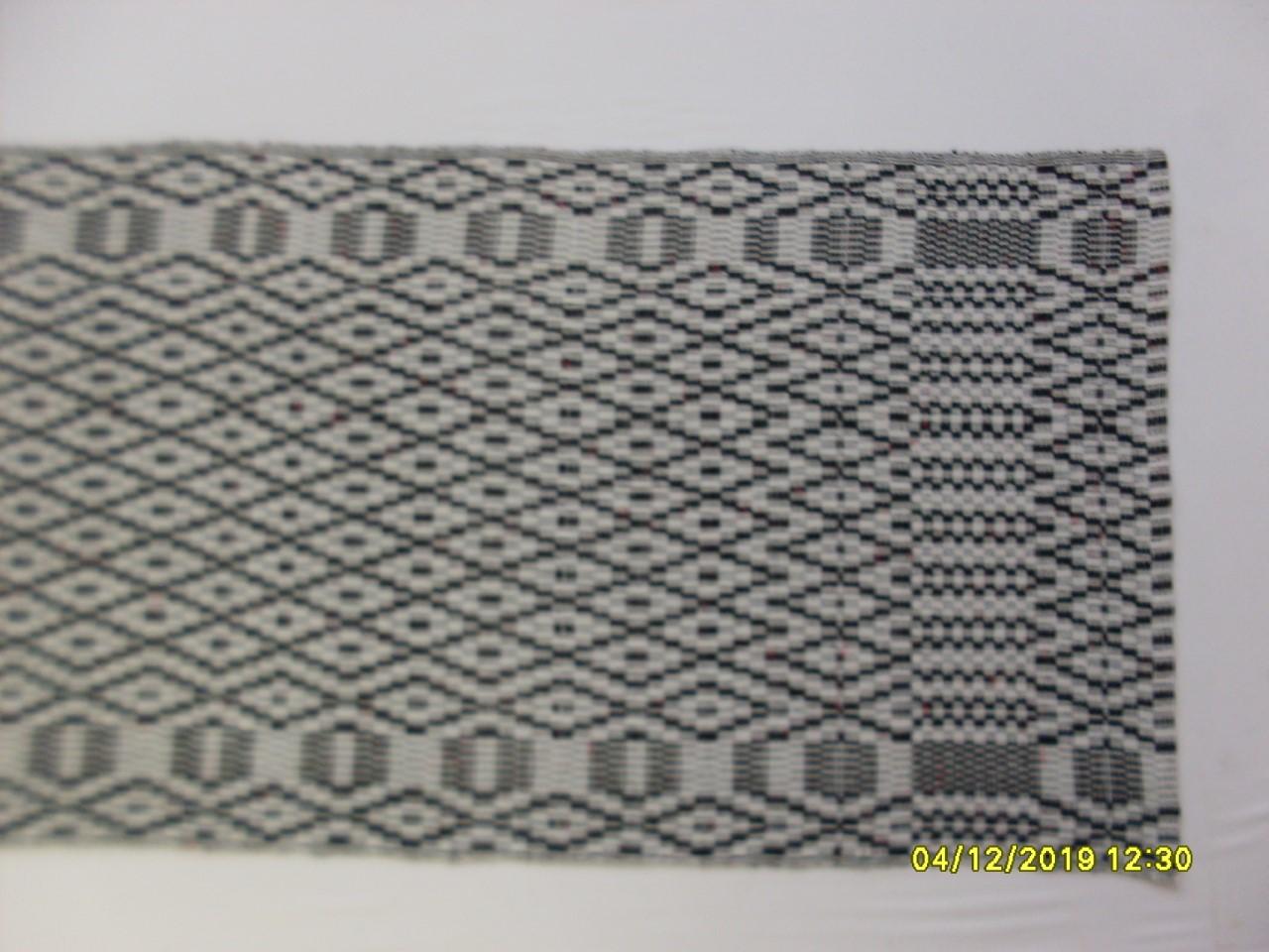 Hand Woven Irish Linen Table Runner in Dark Gray and White