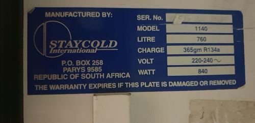 Beverage Cooler 760 Lit 2 Sliding Door Model 1140