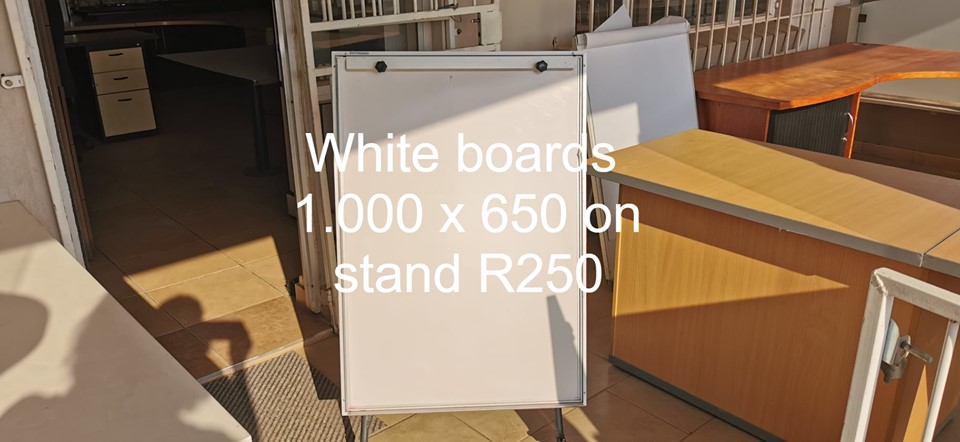 White boards on stand