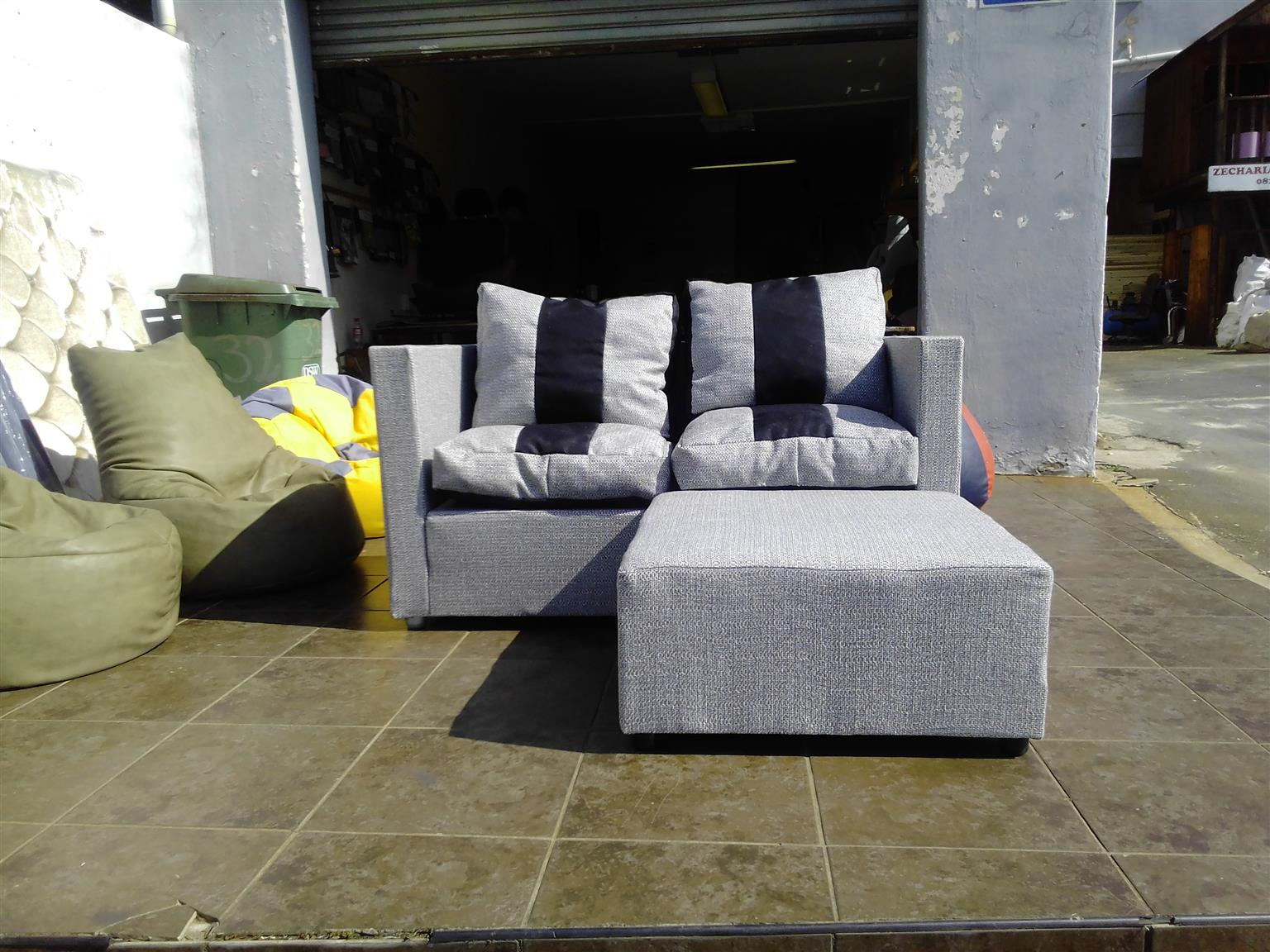 2 seater couch with ottoman