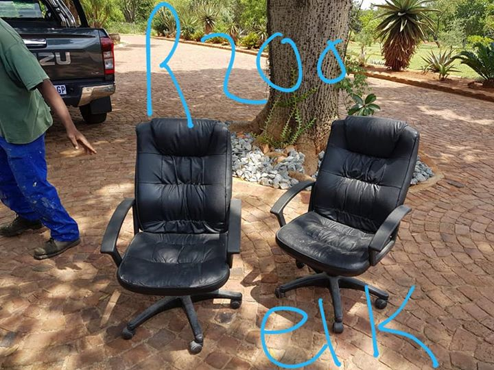 2 Office chairs with wheels for sale