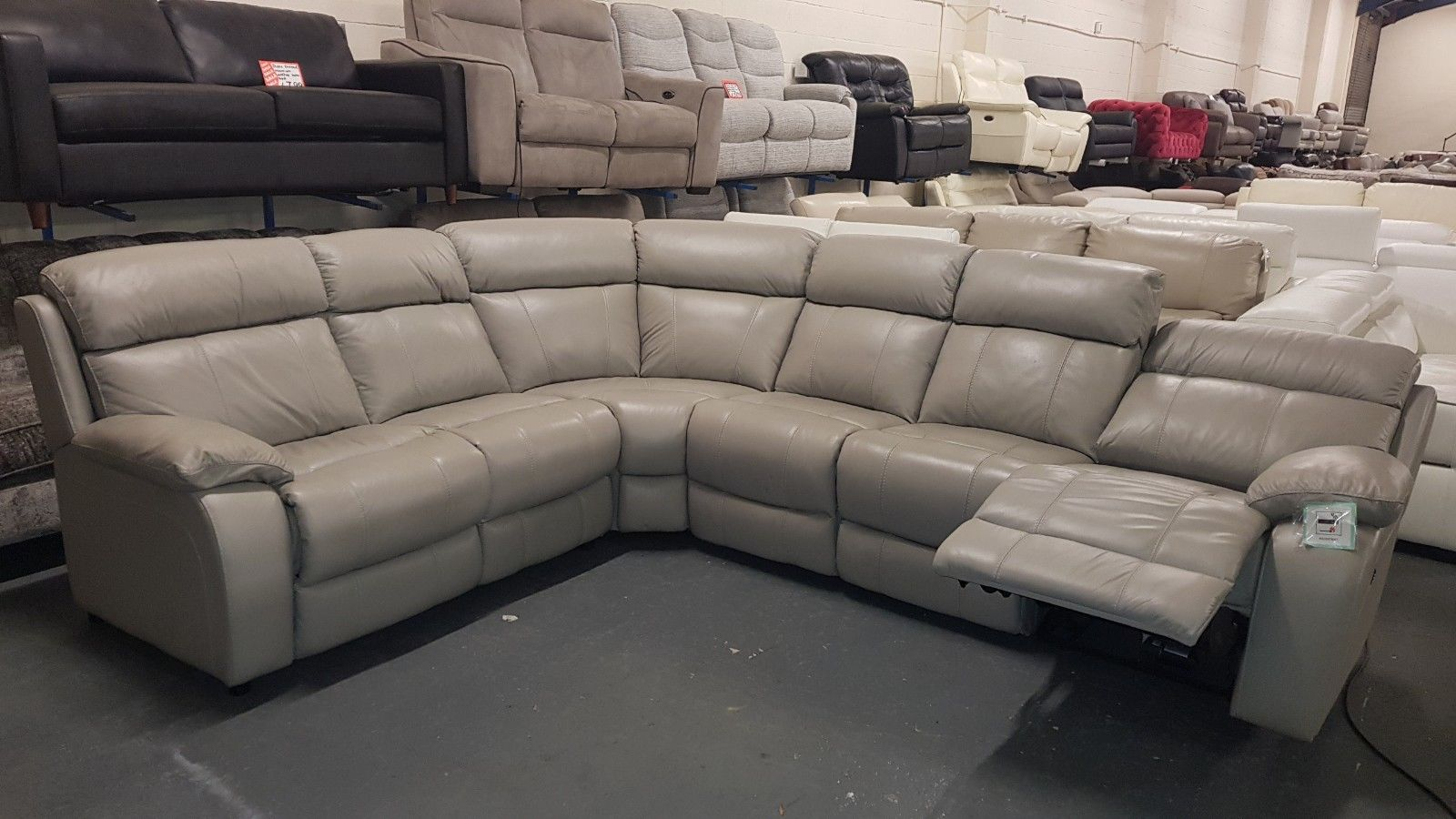 Grey Leather Electric Recliner Corner Sofa