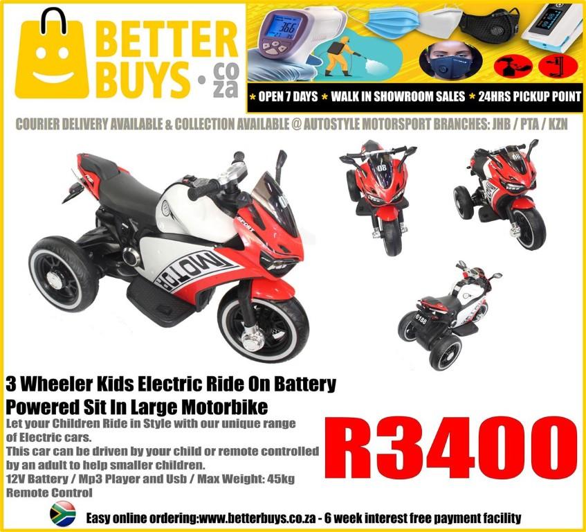 3 Wheeler Kids Electric Ride On Battery Powered Sit In Large Motorbike