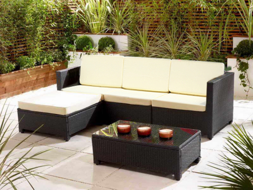 Marcella 5 Piece Outdoor Wicker Patio Sectional Living Sofa Set