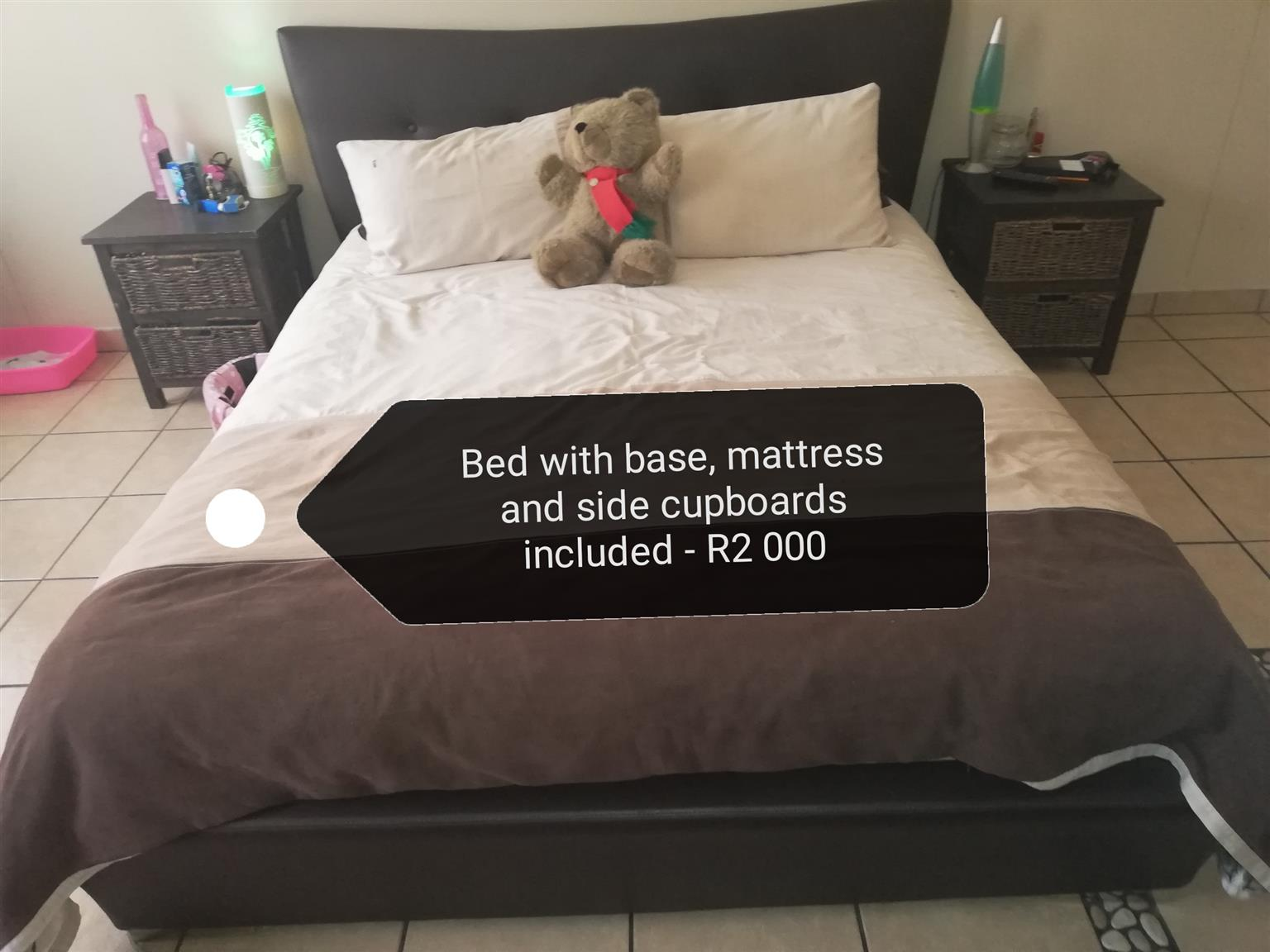 Bed with mattress, headboard, and beside tables for sale