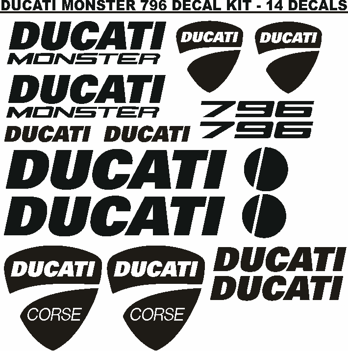 Ducati Monster motorcycle graphics decals stickers sets