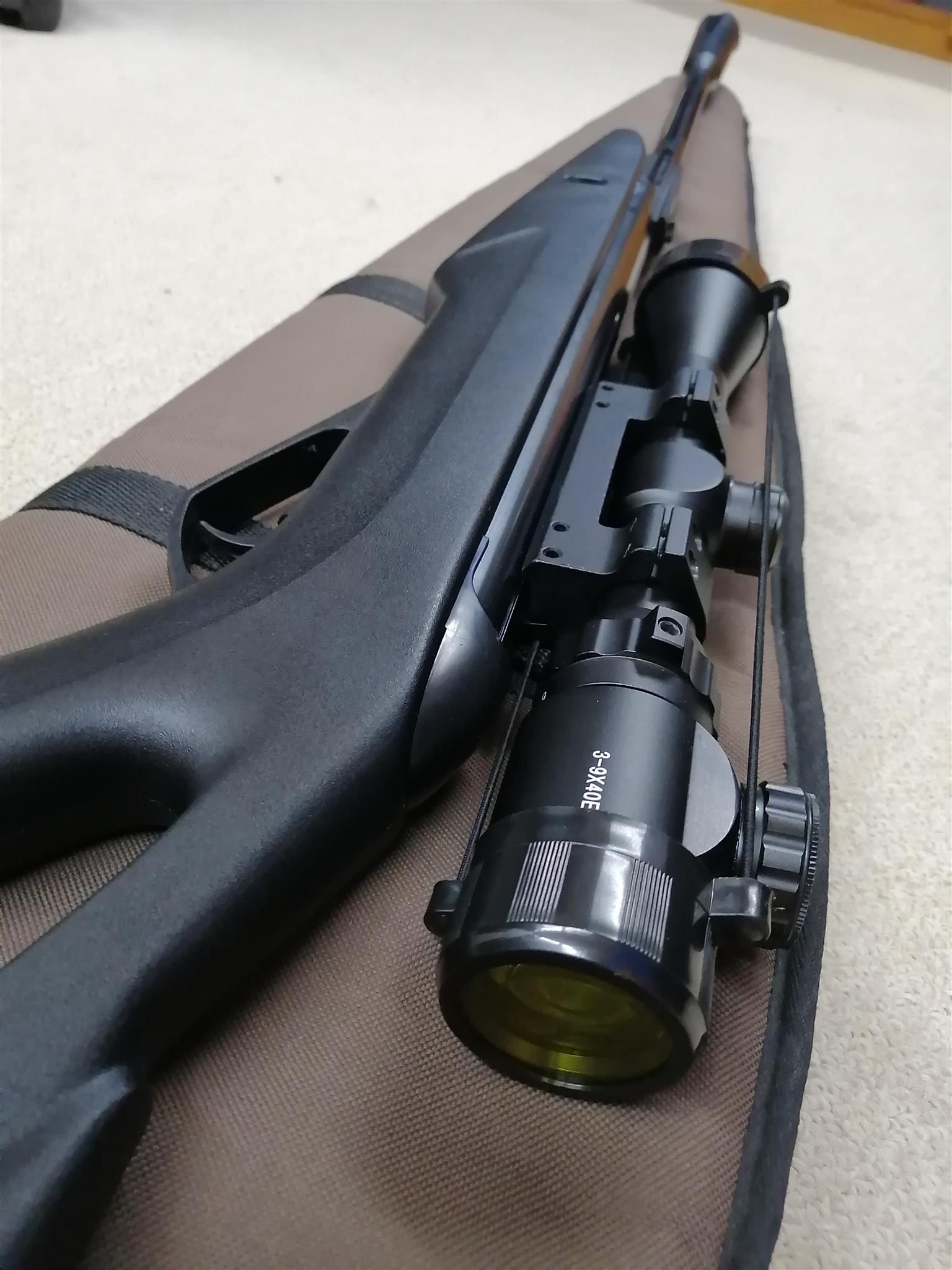 Gamo Whisper Vampire X air rifle with precision 3-9x40 scope and upgrade piston