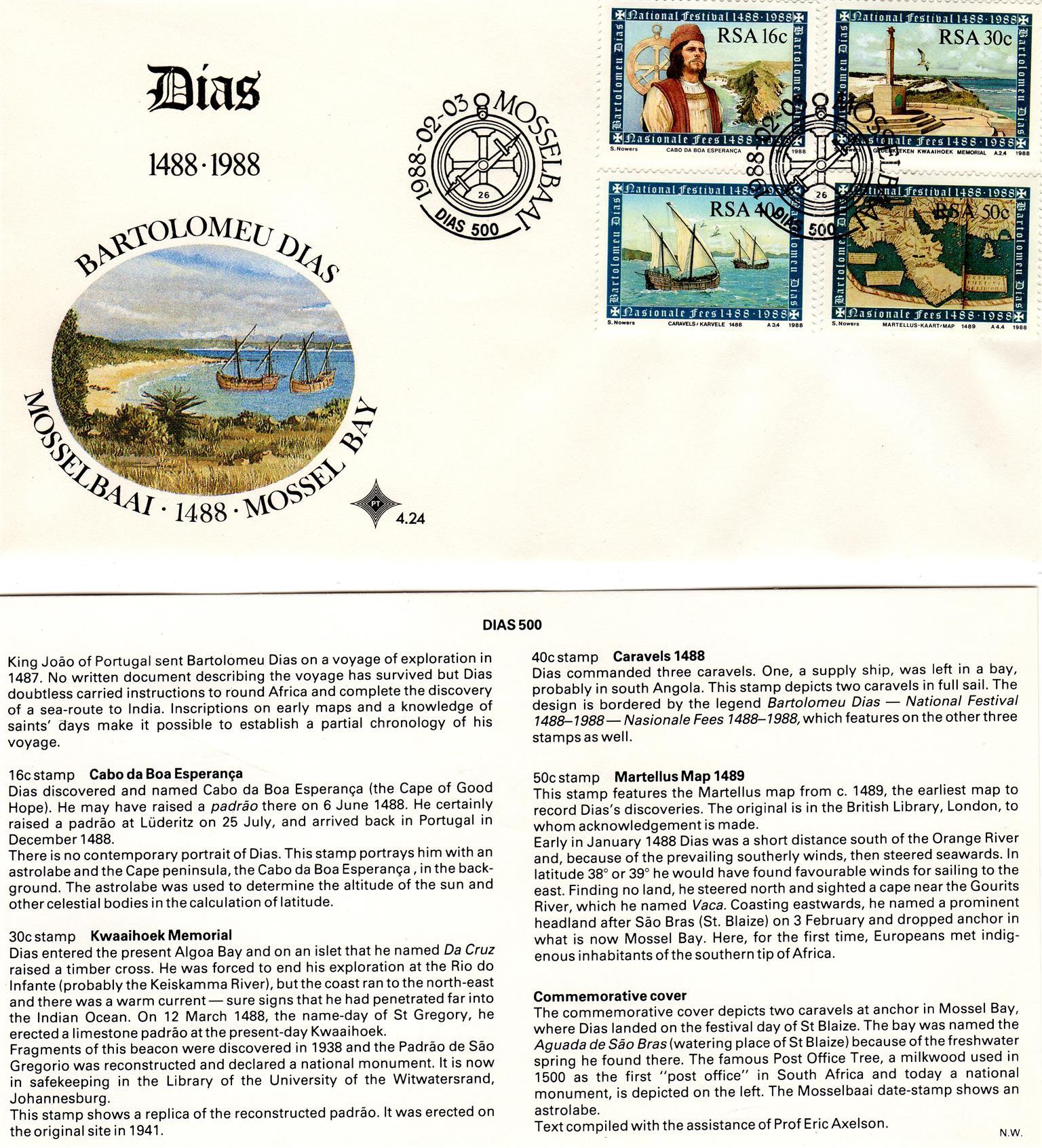 Commemorative Stamp & Envelope Set - Bartolomeu Dias 1988