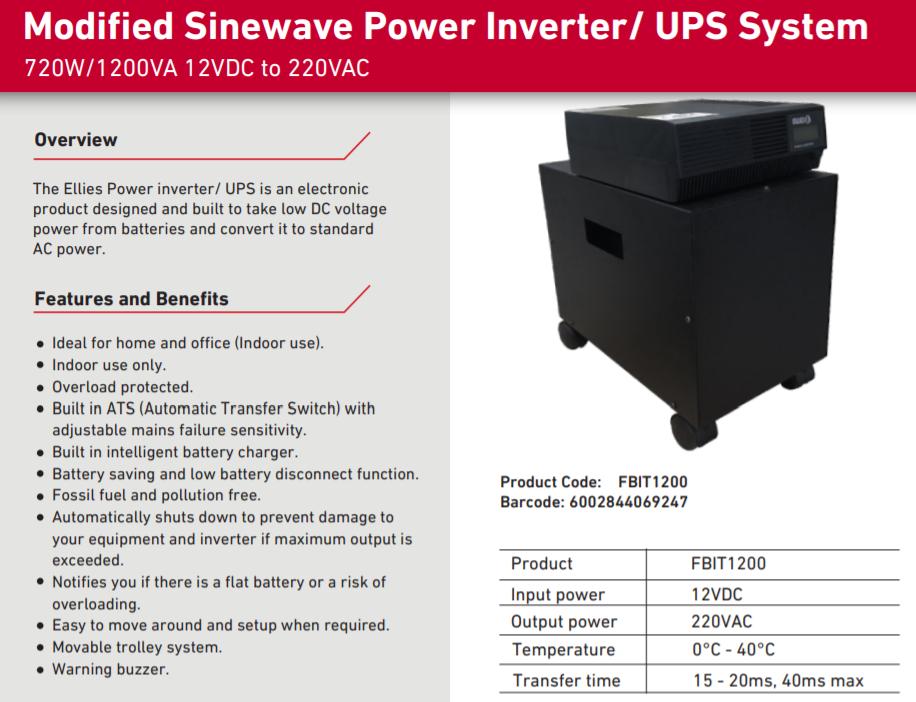Inverter Trolley 1200 VA / 720 W