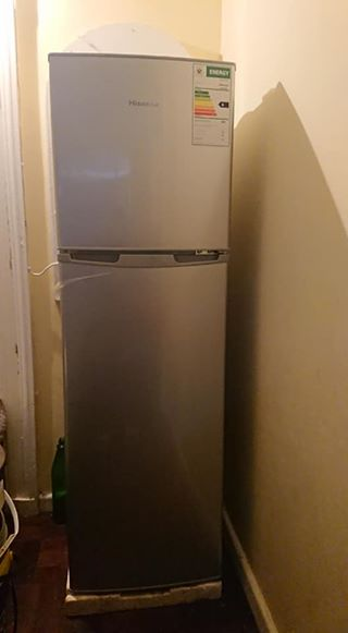 Hisense fridge & pine tv stand
