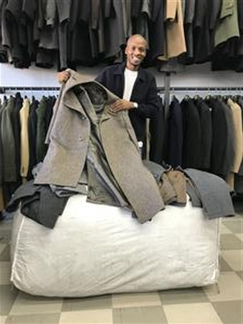 100kg men's wool coat bale available for sale
