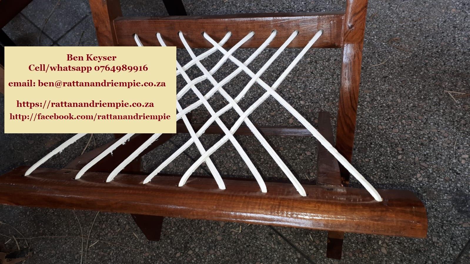 Chair riempies. White, raw-hide riempies, raw-hide kudu riempies or plastic/PCV.