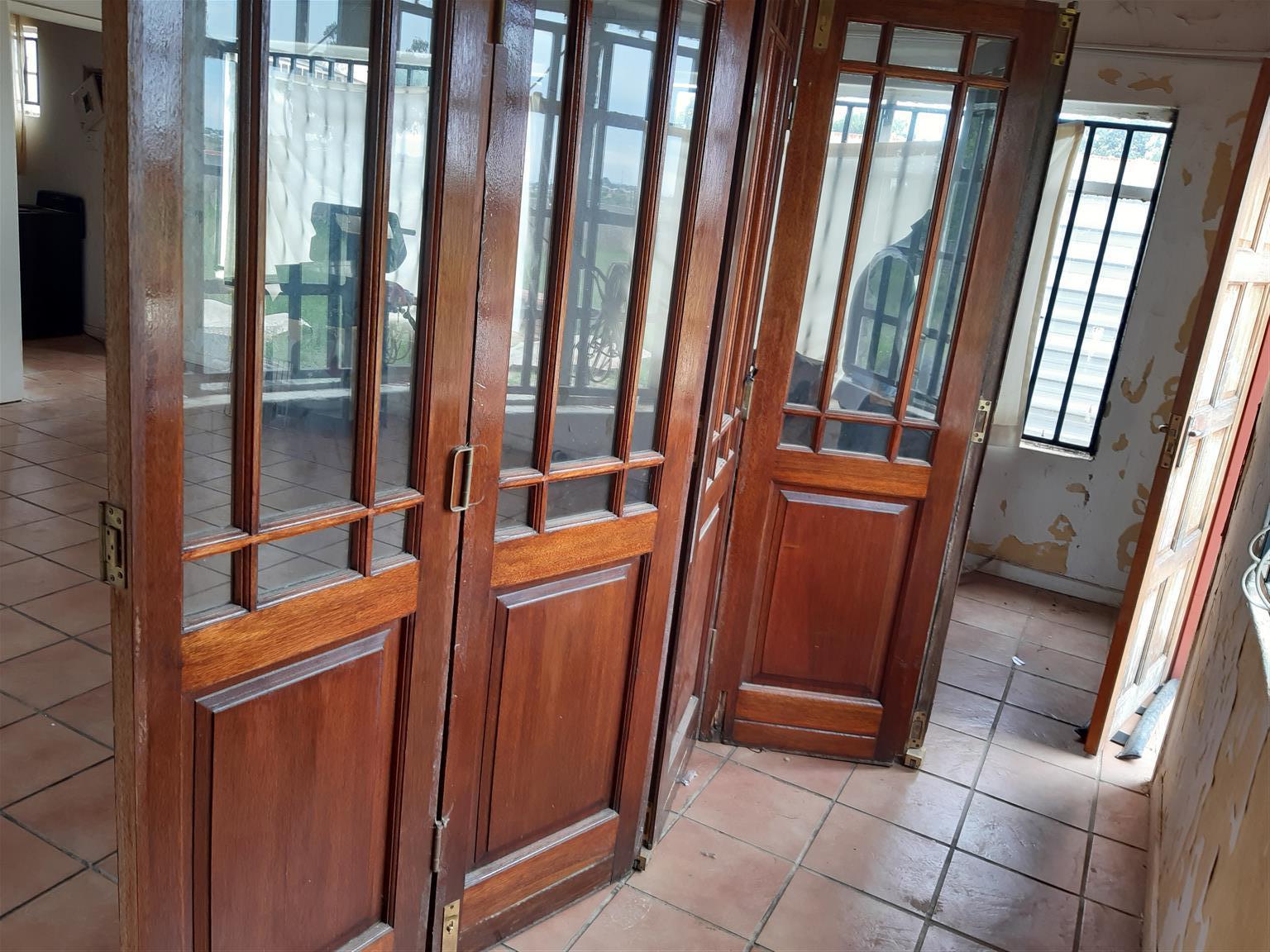 5 panel wood sliding folding doors