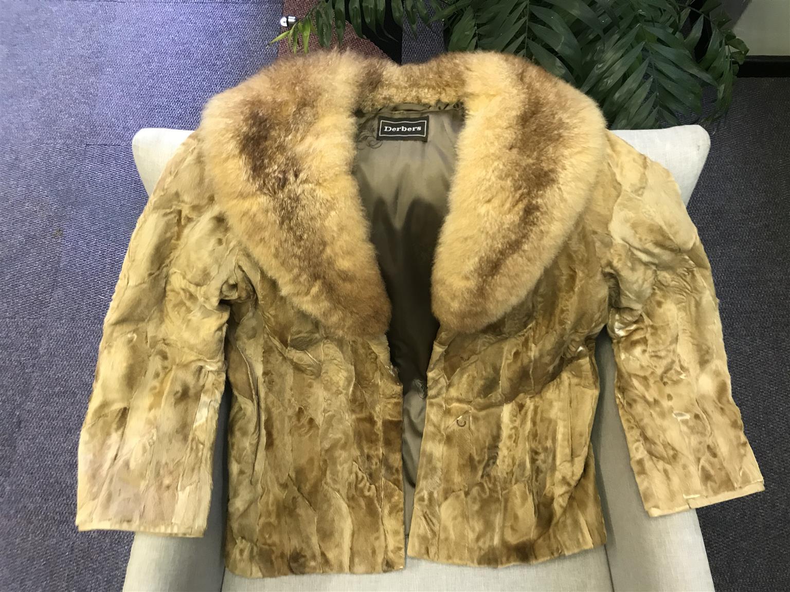 Dark beige swakara paw jacket with opposum collar
