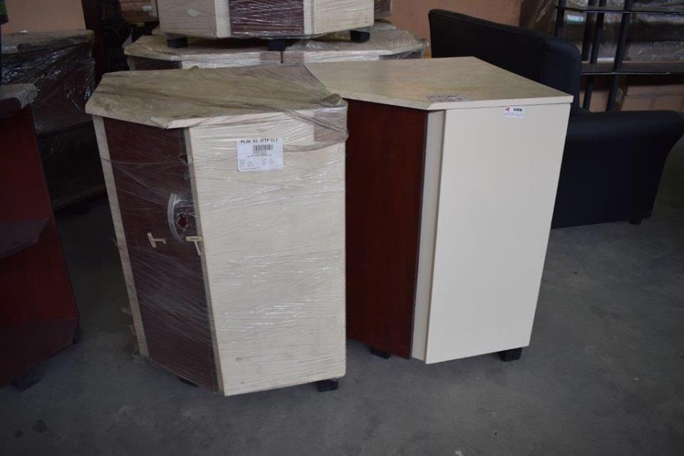 White wooden corner cabinets