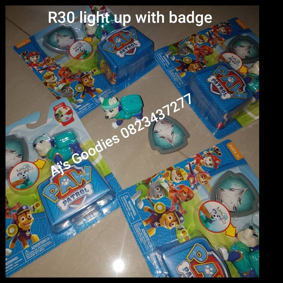Paw patrol light up with badge toys